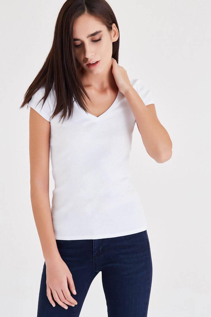 Bayan Beyaz Kısa Kollu V Yaka Basic Tişört