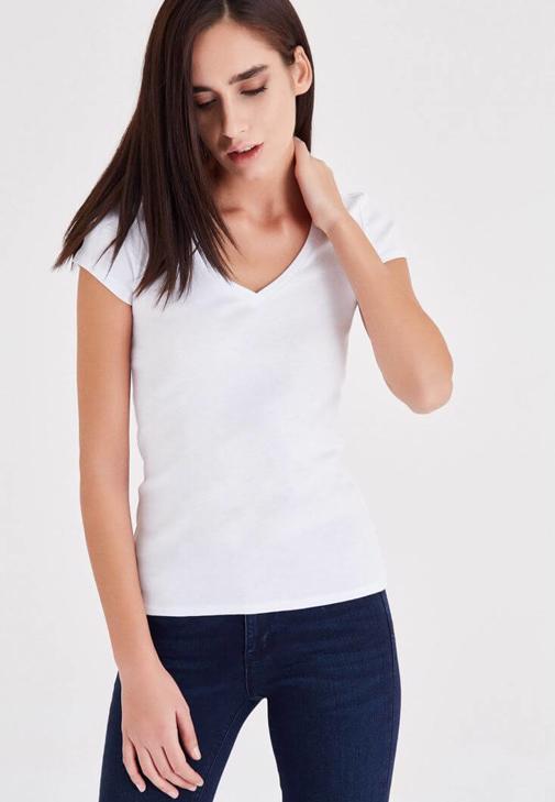Beyaz Kısa Kollu V Yaka Basic Tişört