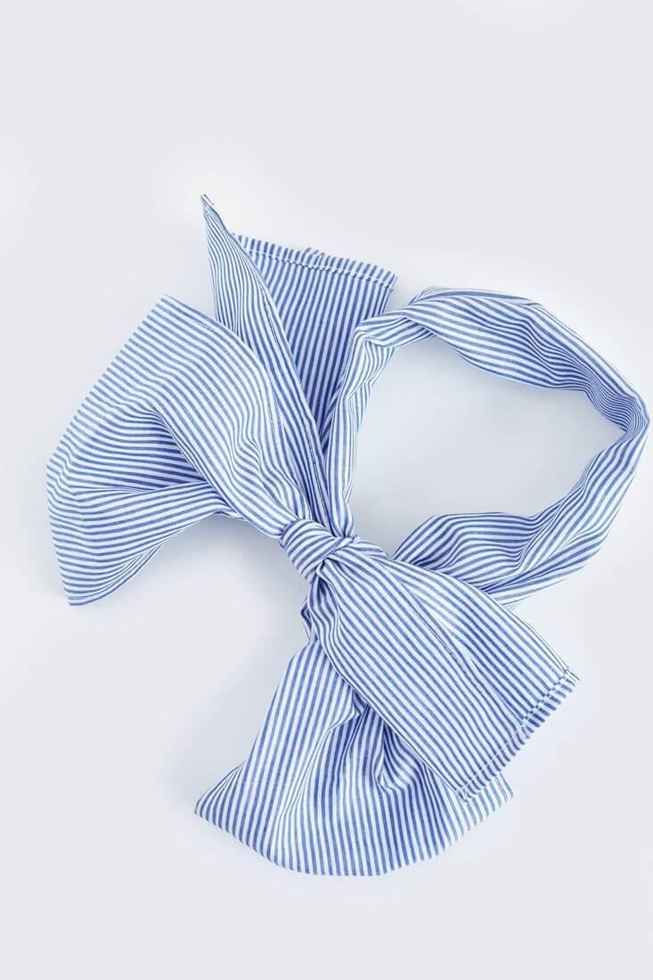 Bayan Mavi Çizgili Fular
