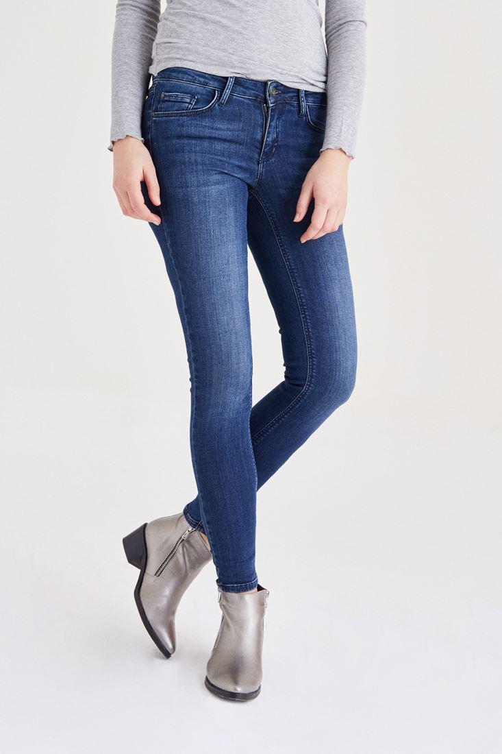 Mavi Düğmeli Düşük Bel Jean
