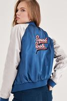 Bayan Mavi Sırt Detaylı Bomber Ceket