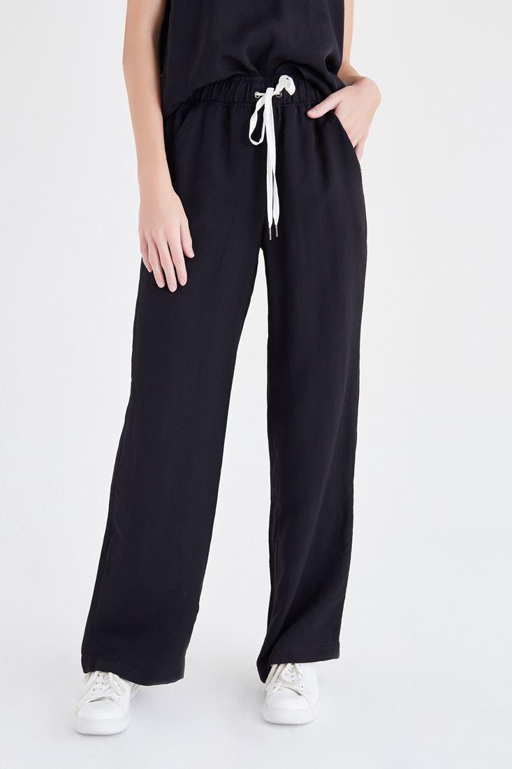 Bayan Siyah Saten Pantolon