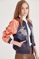 Bayan Gri Nakışlı Bomber Ceket