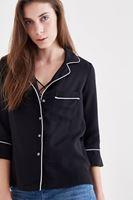 Bayan Siyah Cep Detaylı Truvakar Kollu Gömlek