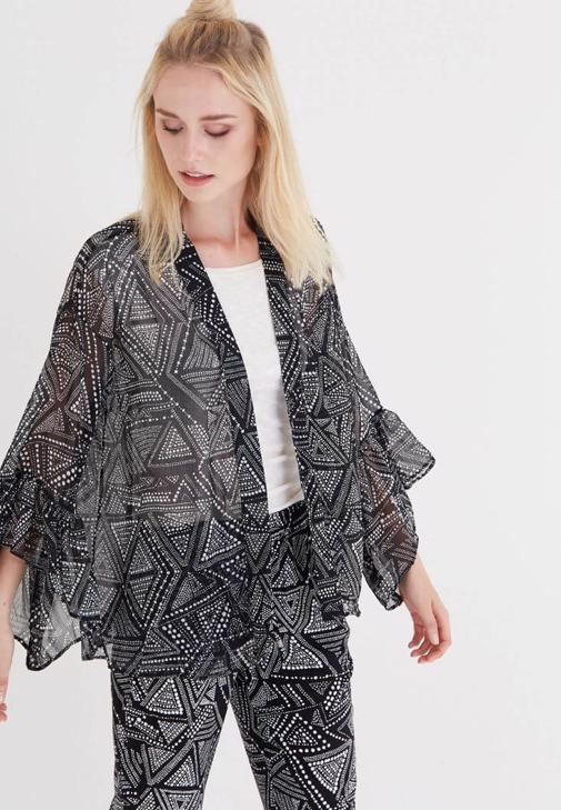 Çok Renkli Desenli Kimono