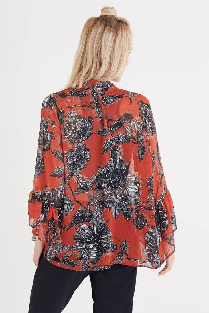 Bayan Çok Renkli Desenli Kimono