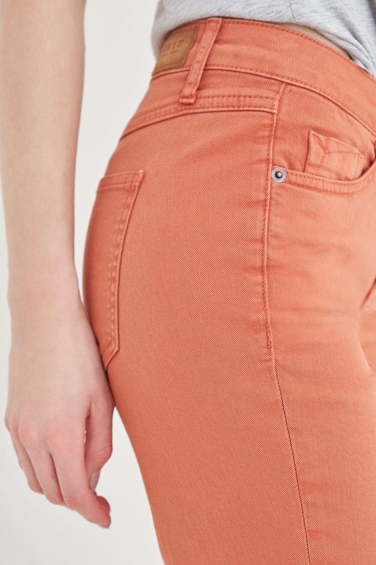 Bayan Turuncu Kısa Paça Boyfriend Pantolon