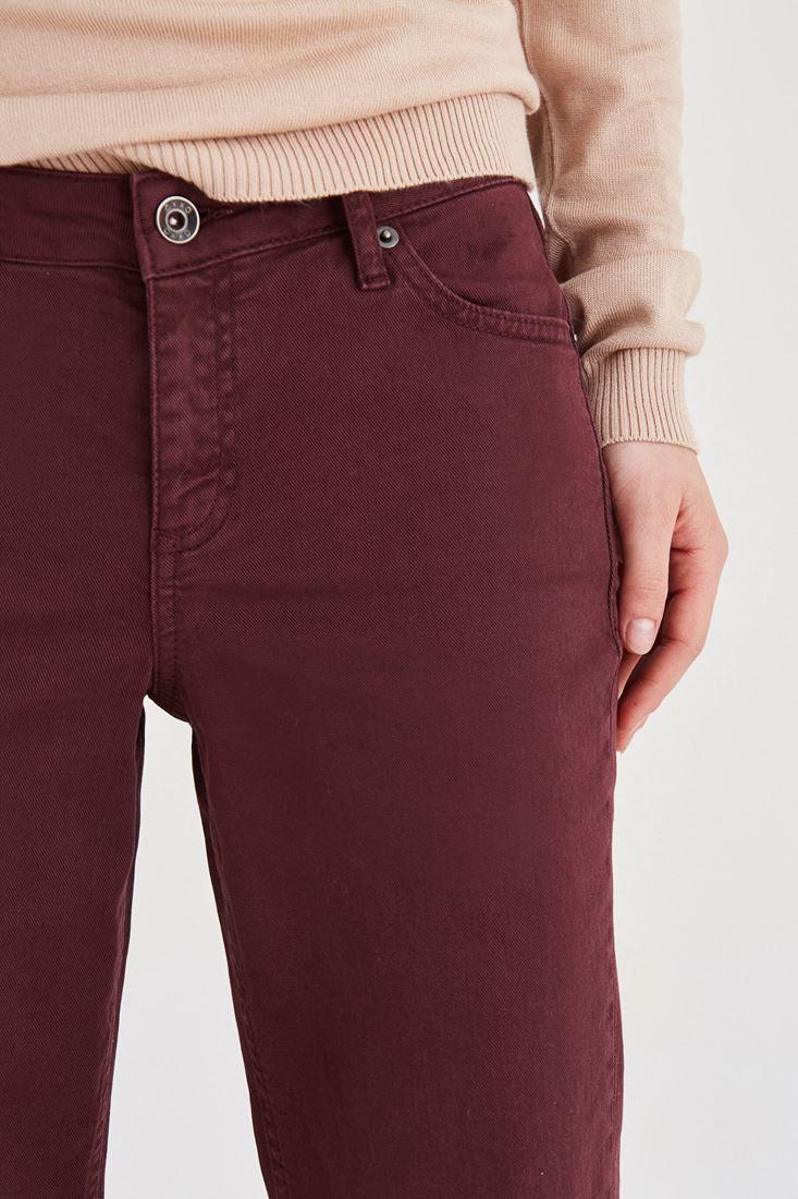 Bayan Bordo Kısa Paça Boyfriend Pantolon