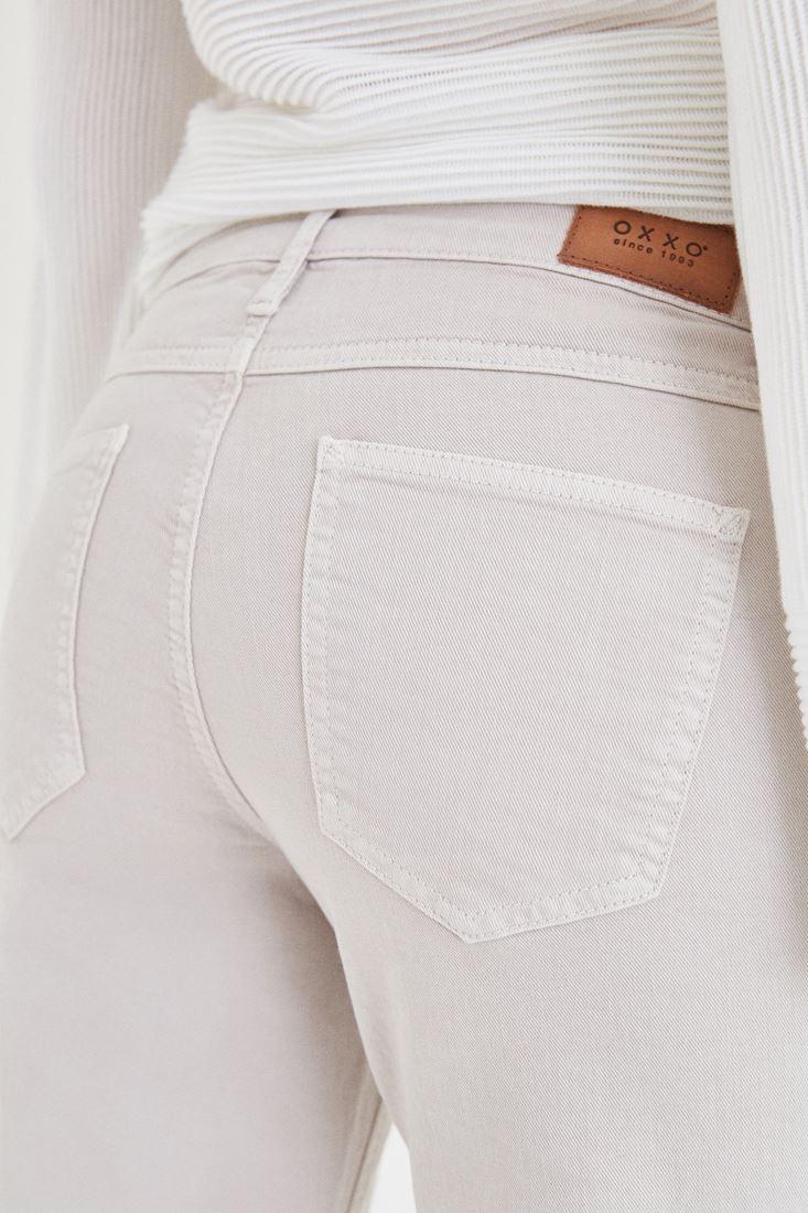 Bayan Krem Kısa Paça Boyfriend Pantolon