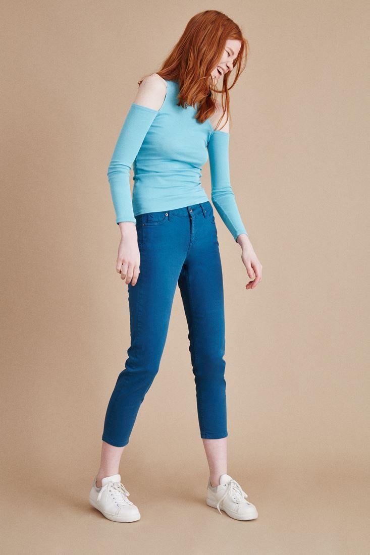 Mavi Kısa Paça Boyfriend Pantolon