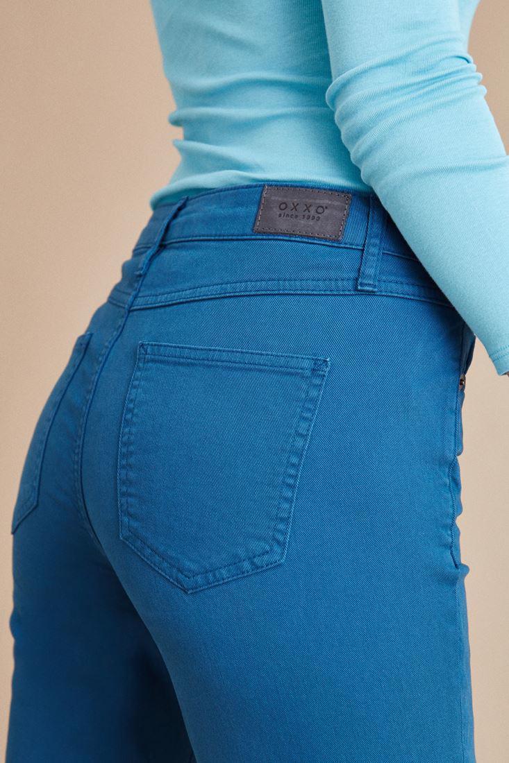 Bayan Mavi Kısa Paça Boyfriend Pantolon