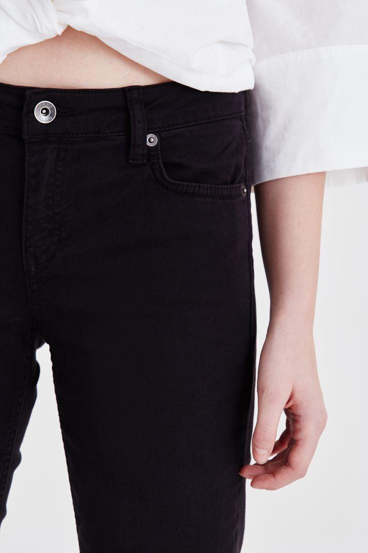 Bayan Siyah Kısa Paça Boyfriend Pantolon