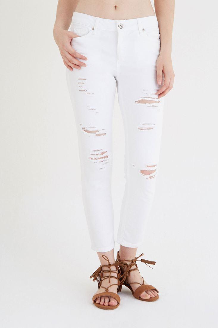 Beyaz Ara Bel Yırtık Jean
