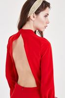 Women Red Overalls With Back Detailed