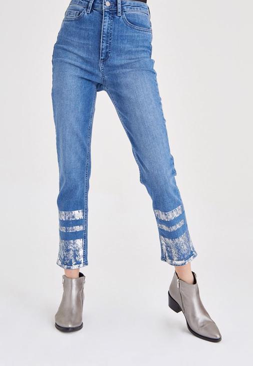 Mavi Metalik Baskılı Denim Pantolon