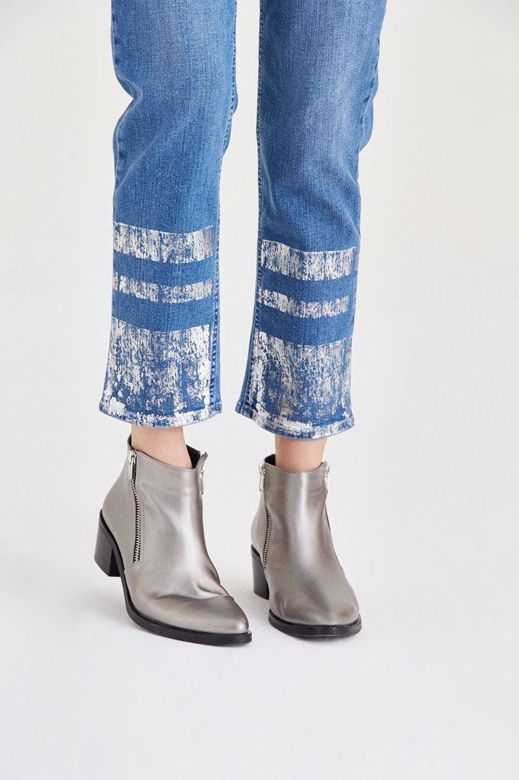 Bayan Mavi Metalik Baskılı Denim Pantolon