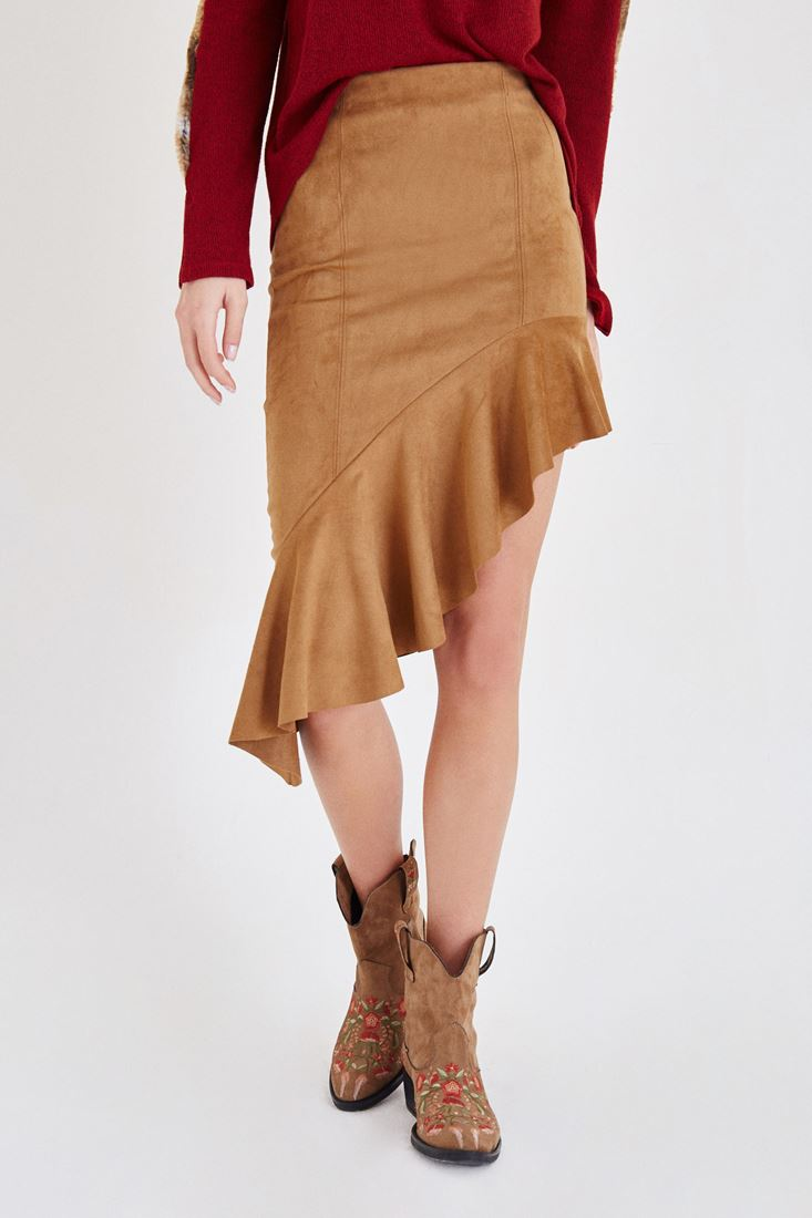 Brown Suede Skirt With Frill Detailed
