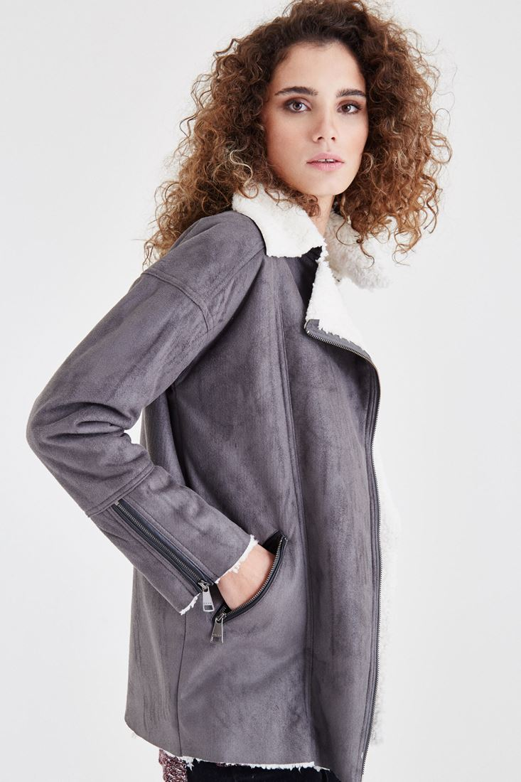 Grey Fur Detailed Overcoat