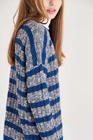 Bayan Mavi Çizgili Kazak