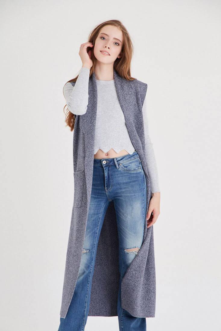 Mavi Uzun Yelek