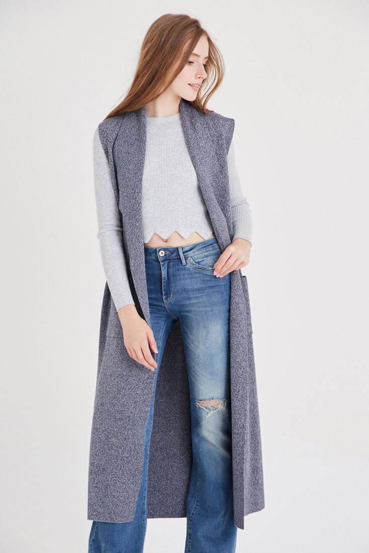 Bayan Mavi Uzun Yelek