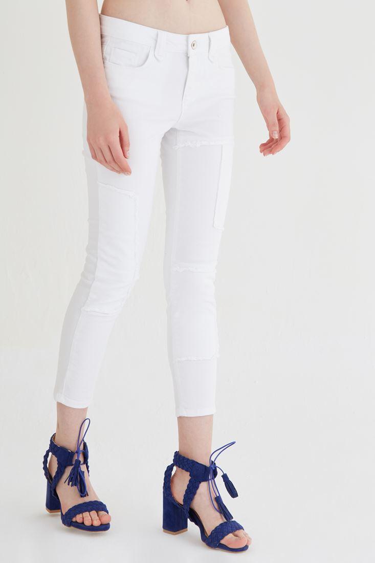Beyaz Düşük Bel Kısa Paça Pantolon