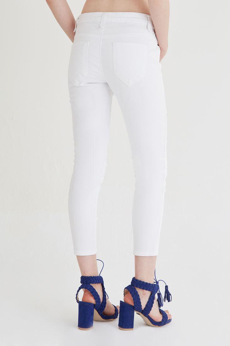 Bayan Beyaz Düşük Bel Kısa Paça Pantolon