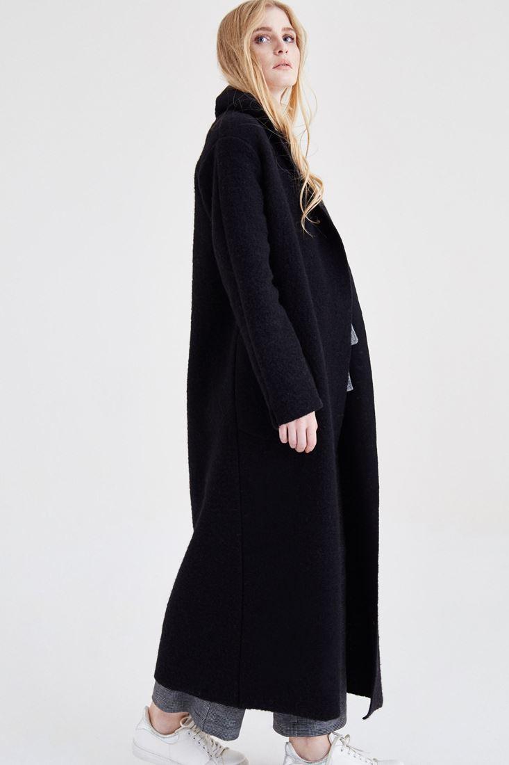 Bayan Siyah Uzun Yün Kaban