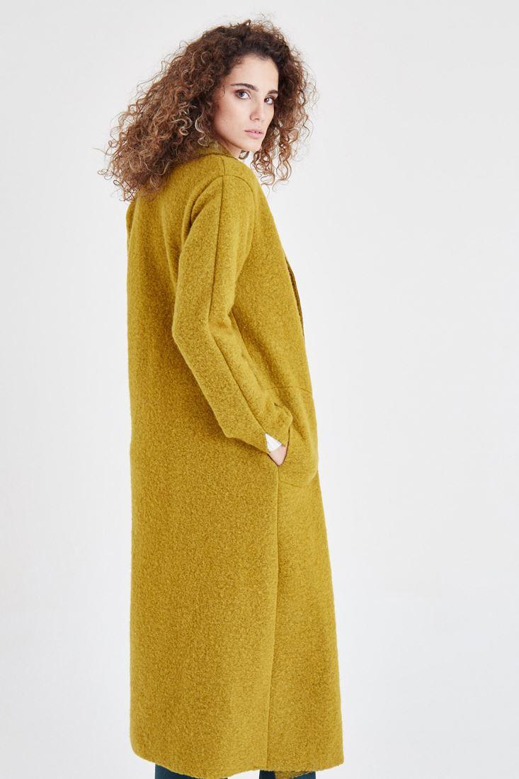 Bayan Yeşil Uzun Yün Kaban