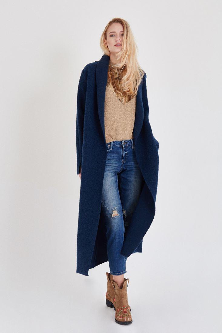 Bayan Mavi Uzun Yün Kaban