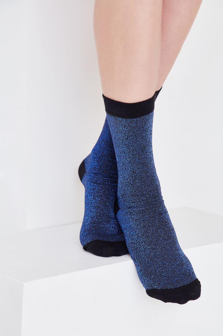 Bayan Mavi Simli Çorap