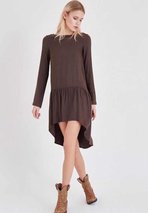 Kahverengi Volanlı Elbise