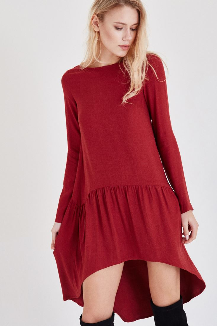 Bordeaux Frilled Dress
