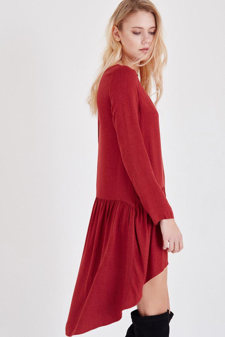 Bayan Bordo Volanlı Elbise