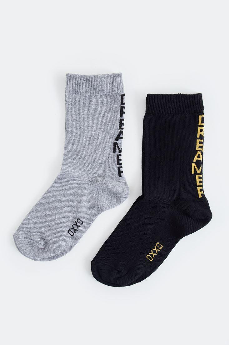 Bayan Siyah Slogan Detaylı Çorap