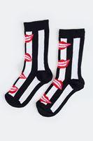 Bayan Kırmızı Dudak Figürlü Çorap