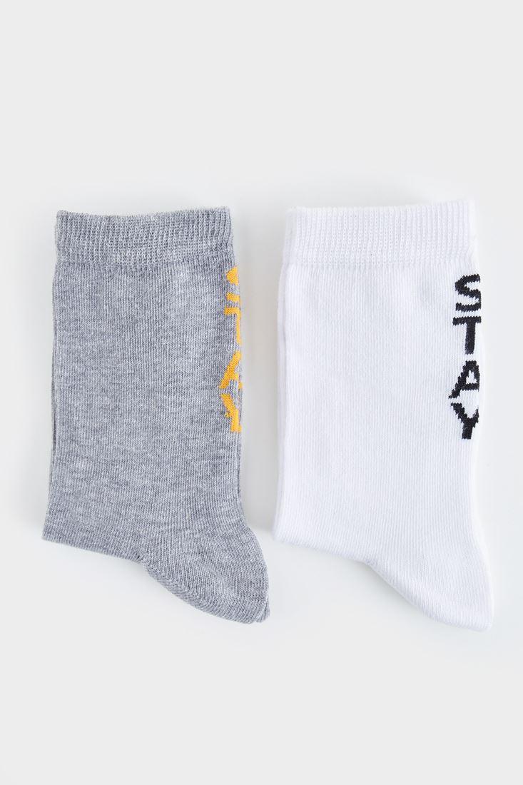 Bayan Beyaz Yazı Detaylı Çorap
