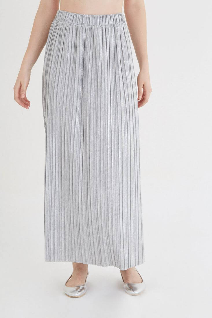 Grey Pleated Long Skirt