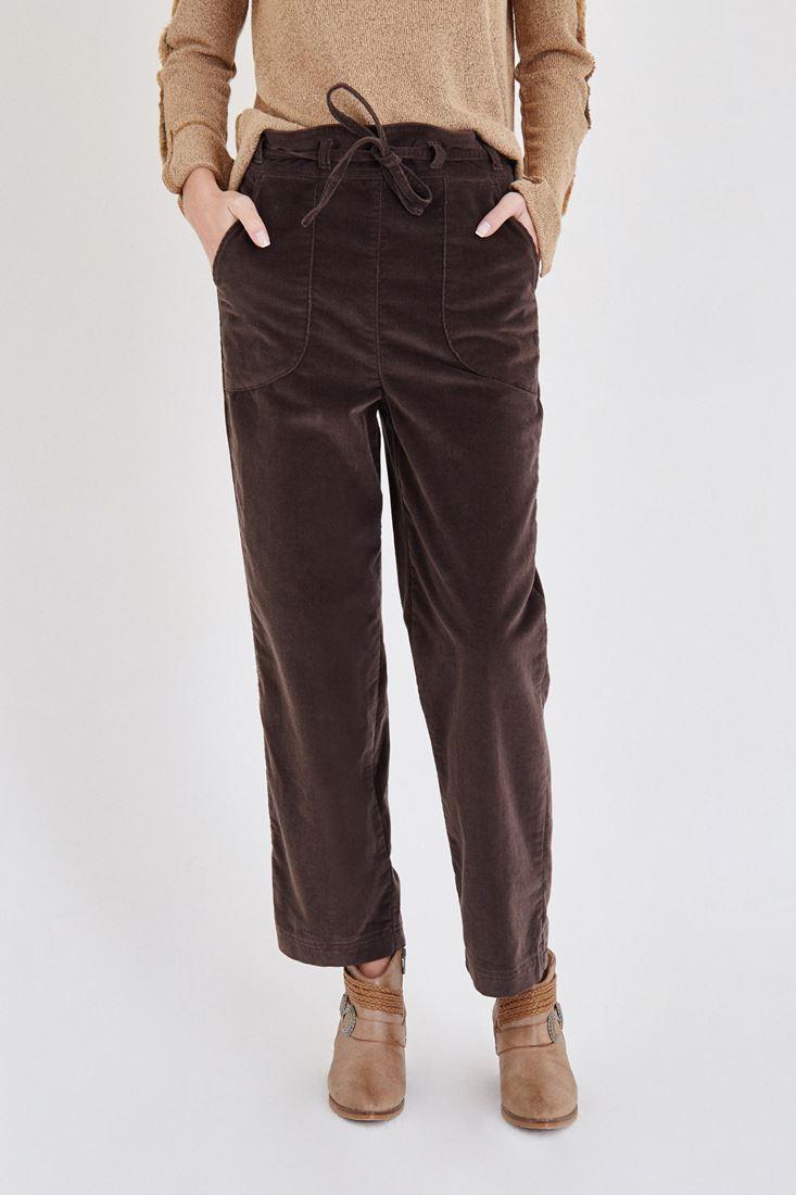 Brown Velvet Pants With Belt Detailed
