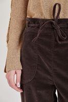 Bayan Kahverengi Beli Bağlamalı Kadife Pantolon
