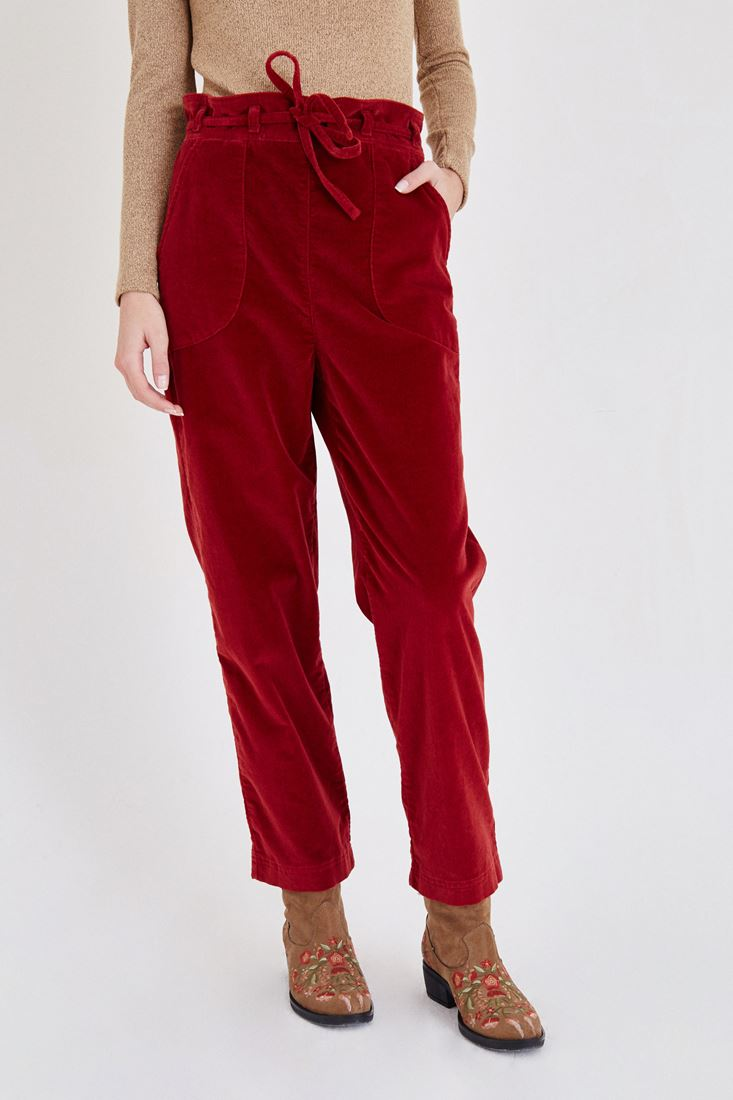 Bordeaux Velvet Pants With Belt Detailed