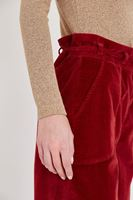 Women Bordeaux Velvet Pants With Belt Detailed