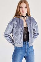 Bayan Gri Kadife Bomber Ceket