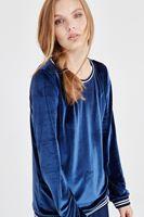 Bayan Lacivert Kadife Sweatshirt