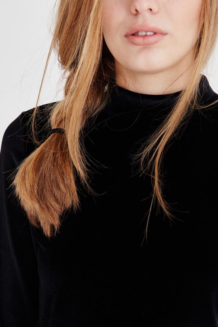 Bayan Siyah Kadife Bluz