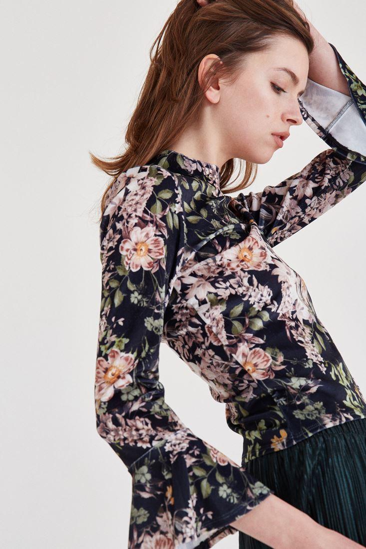 Bayan Çok Renkli Kadife Desenli Bluz