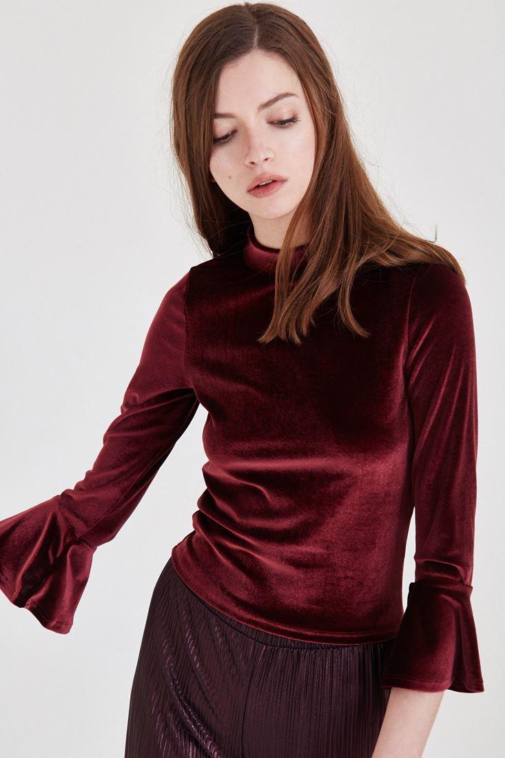 Bayan Bordo Kolları Fırfır Detaylı Kadife Bluz