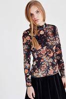 Bayan Çok Renkli Kadife Çiçekli Bluz