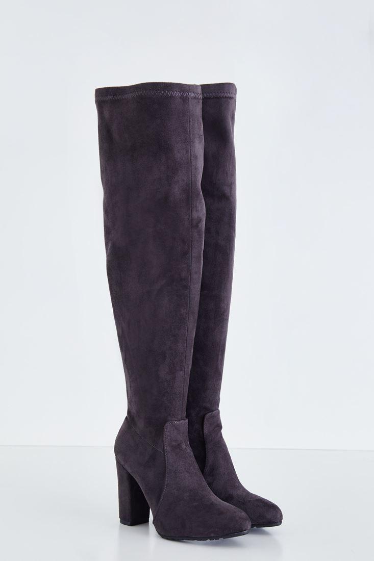 Grey Long Velvet Boot