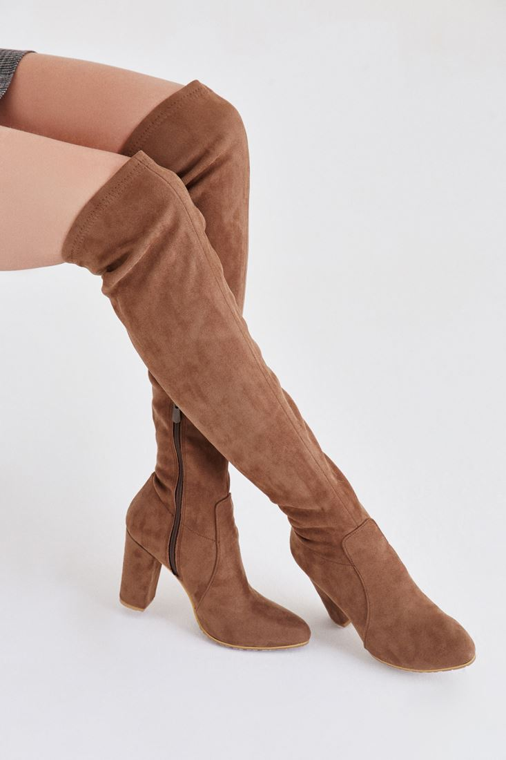 Brown Long Velvet Boot